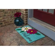 Floral Welcome Coir Doormat with Backing
