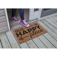 Happy Place Coir Doormat with Backing