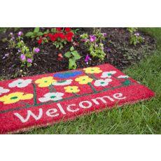 Poppies Welcome Handwoven Coconut Fiber Doormat