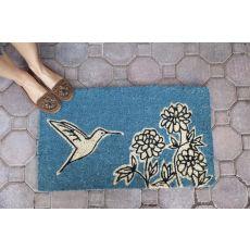 Flower And Hummingbird Handwoven Coconut Fiber Doormat