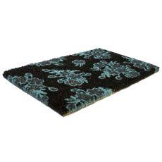 Aqua Floral Handwoven Coconut Fiber Doormat