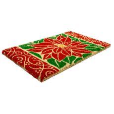 Perfect Poinsettia Hand Woven Coir Doormat