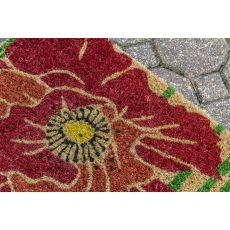 Red Bloom Handwoven Coconut Fiber Doormat