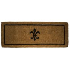 Black Fleur Di Lys 18X47 Extra - Thick Hand Woven Coir Doormat