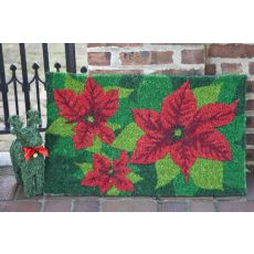 Poinsettias Hand Woven Coir Doormat