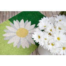 One Daisy On Green Non Slip Coir Doormat