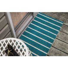 Teal Stripes Non Slip Coir Doormat