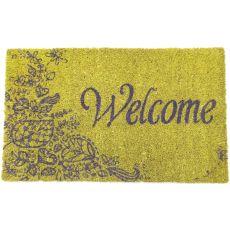 Purple Welcome Non Slip Coir Doormat