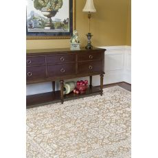 Contemporary Oriental Pattern Taupe/Ivory Rayon And Chenille Area Rug (9X12)