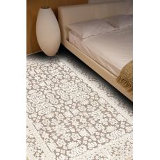 Contemporary Oriental Pattern Gray/Ivory Rayon And Chenille Area Rug (9X12)