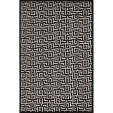 Contemporary Trellis, Chain And Tile Pattern Ivory/Black Rayon And Chenille Area Rug (9X12)