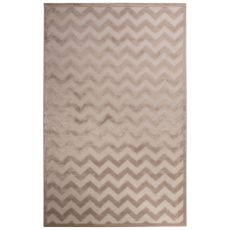 Contemporary Chevrons Pattern Ivory/Beige Rayon Chenille Area Rug (9X12)