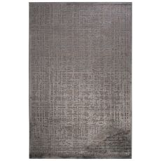 Contemporary Abstract Pattern Gray Rayon Chenille Area Rug (9X12)