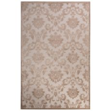 Contemporary Damask Pattern Ivory/Beige Rayon Chenille Area Rug (9X12)