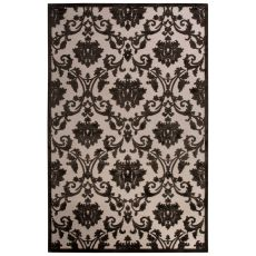 Contemporary Damask Pattern Ivory/Black Rayon Chenille Area Rug (9X12)