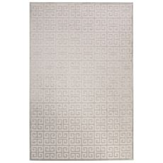 Contemporary Trellis Pattern Ivory/Blue Rayon Chenille Area Rug (9X12)