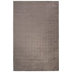 Contemporary Trellis, Chain And Tile Pattern Gray Rayon Chenille Area Rug (9X12)