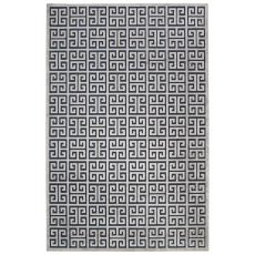 Contemporary Trellis, Chain And Tile Pattern Blue/Gray Rayon Chenille Area Rug (9x12)