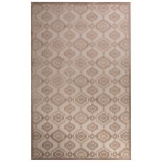 Contemporary Tribal Pattern Ivory/Beige Rayon Chenille Area Rug (9X12)