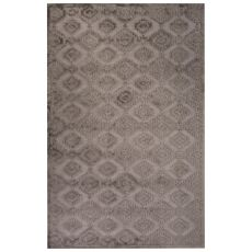 Contemporary Tribal Pattern Gray Rayon Chenille Area Rug (9X12)