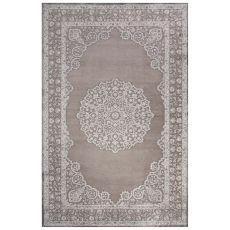 Classic Medallion Pattern Gray Rayon Chenille Area Rug (9X12)