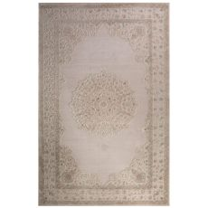 Classic Medallion Pattern Ivory/Beige Rayon Chenille Area Rug (9X12)
