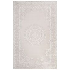 Classic Medallion Pattern Ivory/Gray Rayon Chenille Area Rug (9X12)