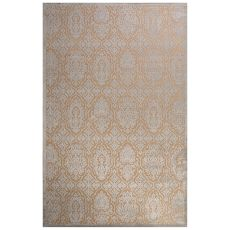 Contemporary Damask Pattern Ivory/Blue Rayon Chenille Area Rug (9X12)