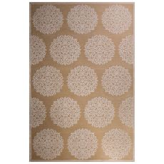 Contemporary Medallion Pattern Ivory/Tan Rayon Chenille Area Rug (9X12)