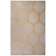 Contemporary Medallion Pattern Ivory/Gray Rayon Chenille Area Rug (9X12)