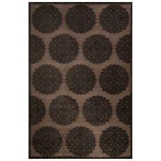 Contemporary Medallion Pattern Gray/Black Rayon Chenille Area Rug (9X12)