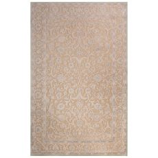 Contemporary Oriental Pattern Tan/Ivory Rayon Chenille Area Rug (9X12)