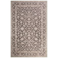 Contemporary Oriental Pattern Gray Rayon Chenille Area Rug (9X12)
