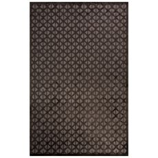 Contemporary Trellis, Chain And Tile Pattern Gray/Black Rayon Chenille Area Rug (9X12)