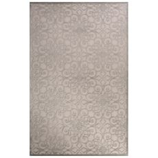 Contemporary Trellis, Chain And Tile Pattern Ivory/Gray Rayon Chenille Area Rug (9X12)