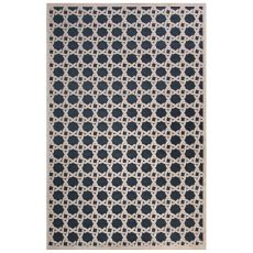 Contemporary Trellis, Chain And Tile Pattern Blue/Ivory Rayon Chenille Area Rug (9X12)