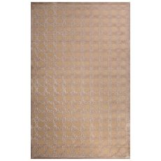 Contemporary Trellis, Chain And Tile Pattern Ivory/Beige Rayon Chenille Area Rug (9X12)