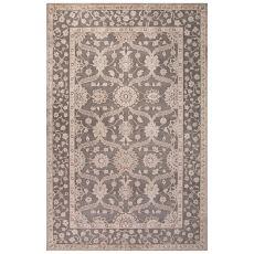 Classic Oriental Pattern Gray/Tan Rayon Chenille Area Rug (9X12)