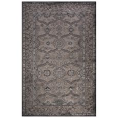Classic Oriental Pattern Gray Rayon Chenille Area Rug (9X12)