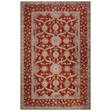 Classic Oriental Pattern Red/Gray Rayon Chenille Area Rug (9X12)