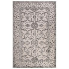 Classic Oriental Pattern Ivory/Gray Rayon Chenille Area Rug (9X12)