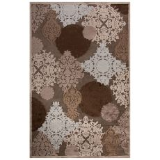 Contemporary Damask Pattern Gray Rayon Chenille Area Rug (9x12)