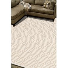 Contemporary Tribal Pattern Ivory/Taupe Rayon And Chenille Area Rug (9X12)