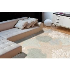 Contemporary Damask Pattern Ivory/Blue Rayon And Chenille Area Rug (9X12)