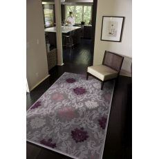 Contemporary Damask Pattern Gray/Purple Rayon And Chenille Area Rug (9X12)