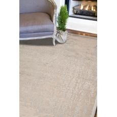 Contemporary Abstract Pattern Taupe/Green Rayon And Chenille Area Rug (9X12)