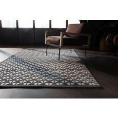 Contemporary Trellis, Chain And Tile Pattern Gray Rayon And Chenille Area Rug (9X12)