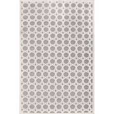 Contemporary Trellis, Chain And Tile Pattern Ivory/Gray Rayon And Chenille Area Rug (9X12)