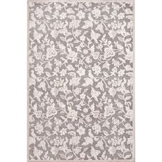 Contemporary Floral & Leaves Pattern Gray/Ivory Rayon and Chenille Area Rug (9x12)