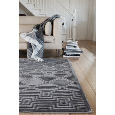 Contemporary Tribal Pattern Gray/Taupe Rayon And Chenille Area Rug (9X12)